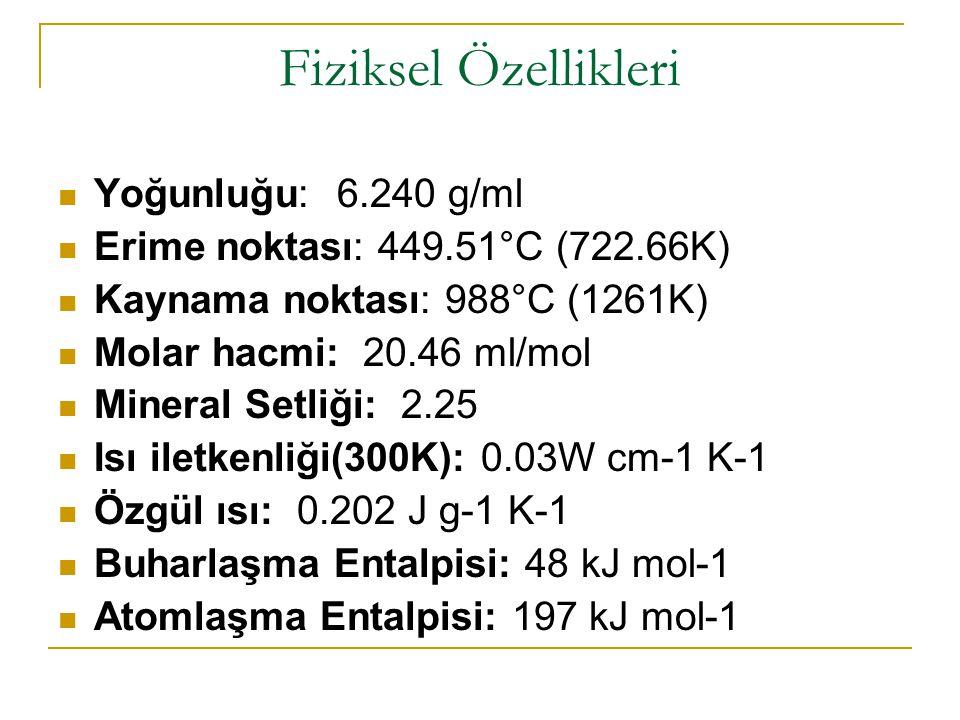Fiziksel Özellikleri Yoğunluğu: 6.240 g/ml