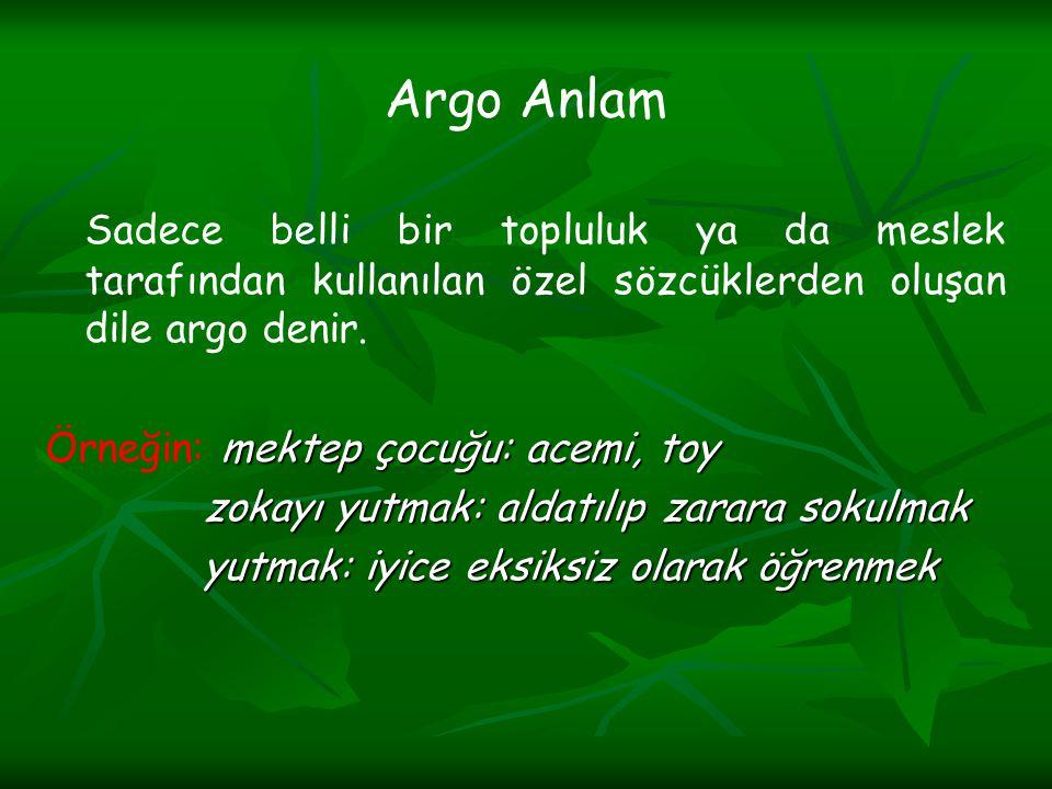 Argo Anlam Sadece belli bir topluluk ya da meslek tarafından kullanılan özel sözcüklerden oluşan dile argo denir.
