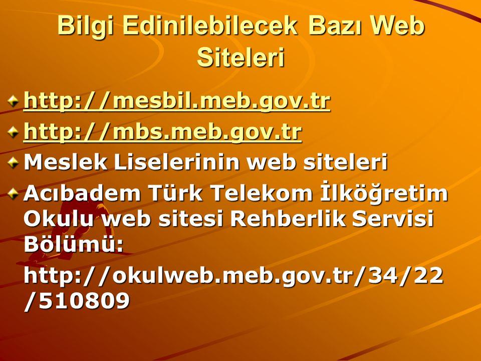 Bilgi Edinilebilecek Bazı Web Siteleri