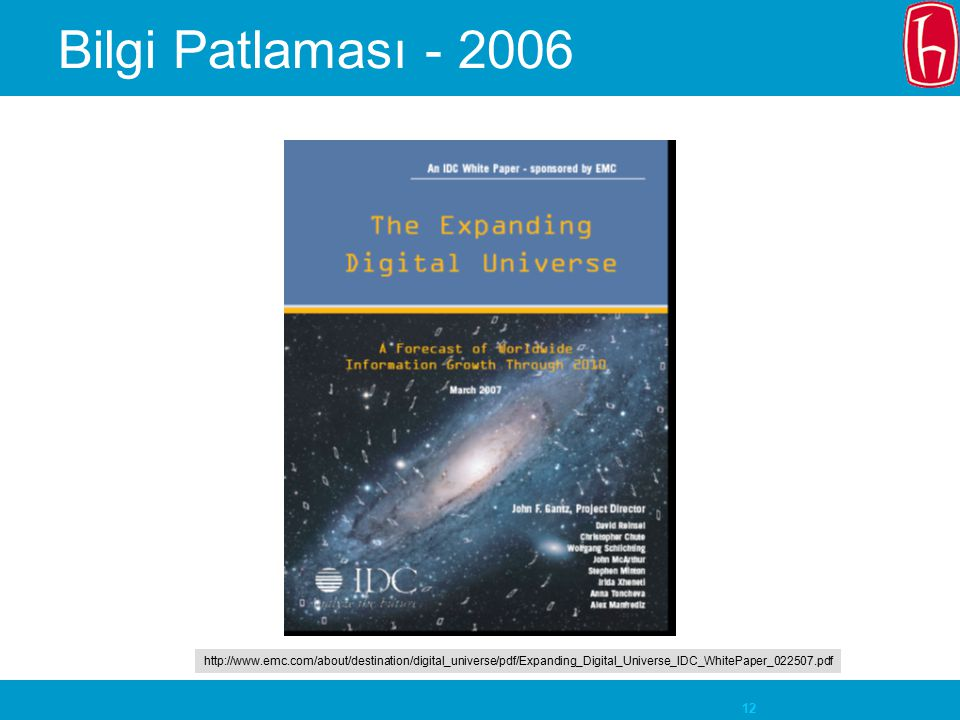 Bilgi Patlaması - 2006 http://www.emc.com/about/destination/digital_universe/pdf/Expanding_Digital_Universe_IDC_WhitePaper_022507.pdf.