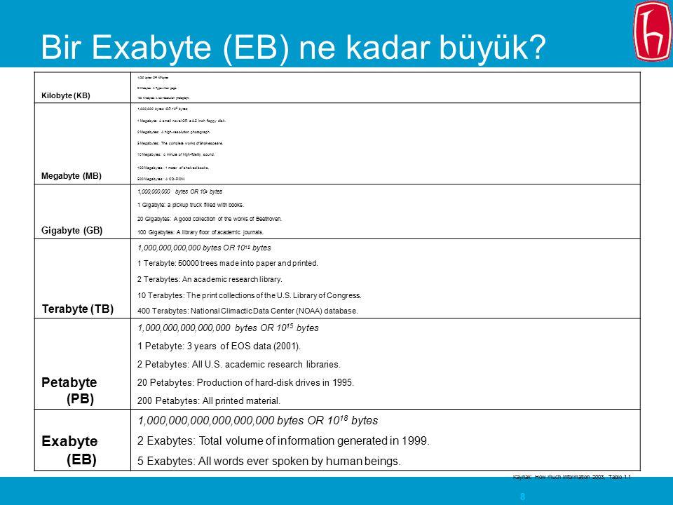 Bir Exabyte (EB) ne kadar büyük