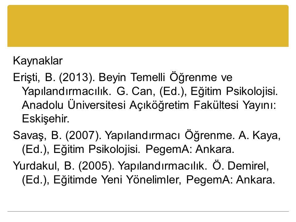 Kaynaklar Erişti, B. (2013). Beyin Temelli Öğrenme ve Yapılandırmacılık.