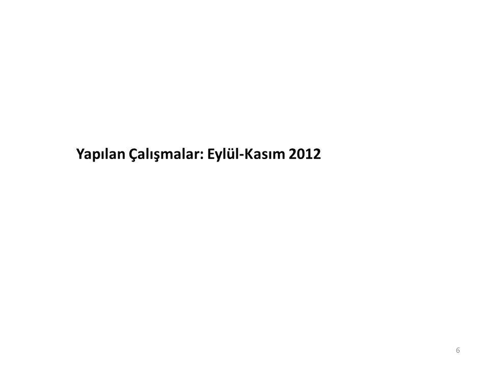 Yapılan Çalışmalar: Eylül-Kasım 2012
