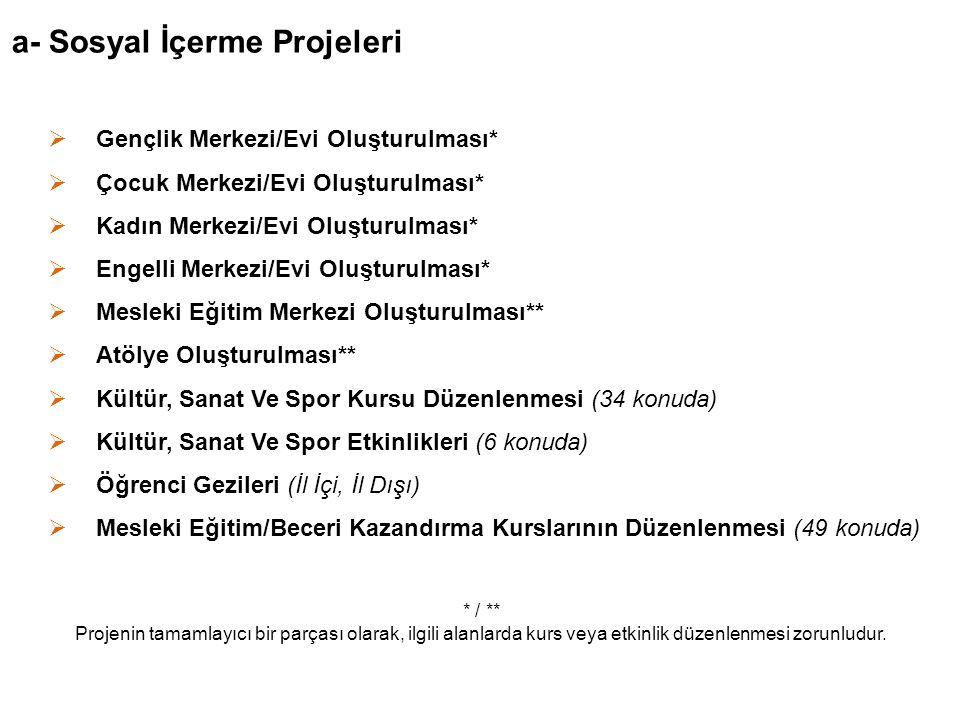 a- Sosyal İçerme Projeleri