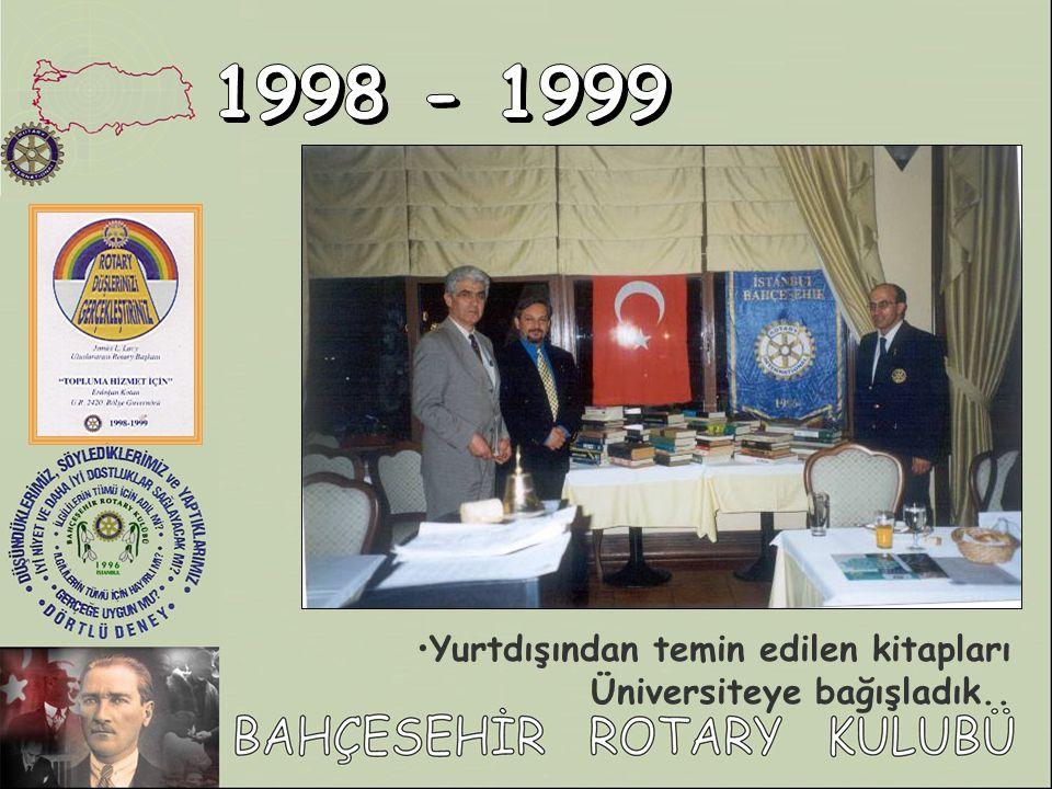 1998 - 1999 Yurtdışından temin edilen kitapları Üniversiteye bağışladık..