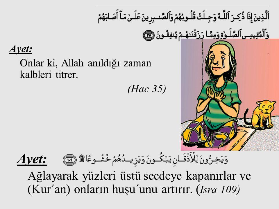 Ayet: Ayet: Onlar ki, Allah anıldığı zaman kalbleri titrer. (Hac 35)