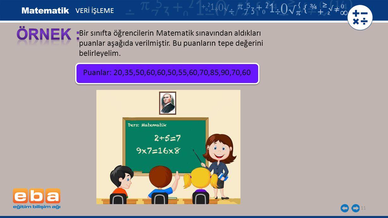 VERİ İŞLEME ÖRNEK : Bir sınıfta öğrencilerin Matematik sınavından aldıkları puanlar aşağıda verilmiştir. Bu puanların tepe değerini belirleyelim.