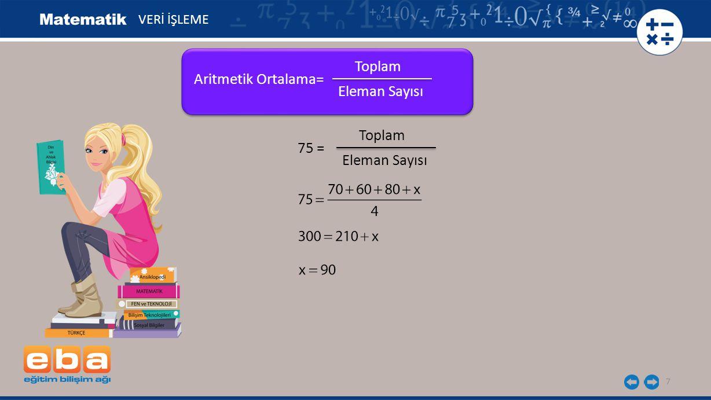Toplam Aritmetik Ortalama= Eleman Sayısı Toplam 75 = Eleman Sayısı