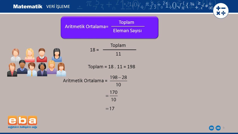 Toplam Aritmetik Ortalama= Eleman Sayısı Toplam 18 = 11