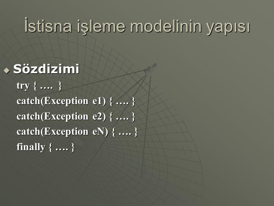 İstisna işleme modelinin yapısı