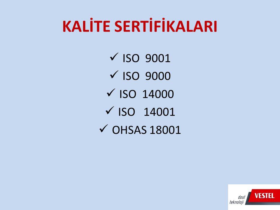 KALİTE SERTİFİKALARI ISO 9001 ISO 9000 ISO 14000 ISO 14001 OHSAS 18001