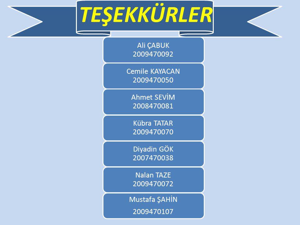 TEŞEKKÜRLER Kübra TATAR 2009470070. Ahmet SEVİM 2008470081. Nalan TAZE 2009470072.
