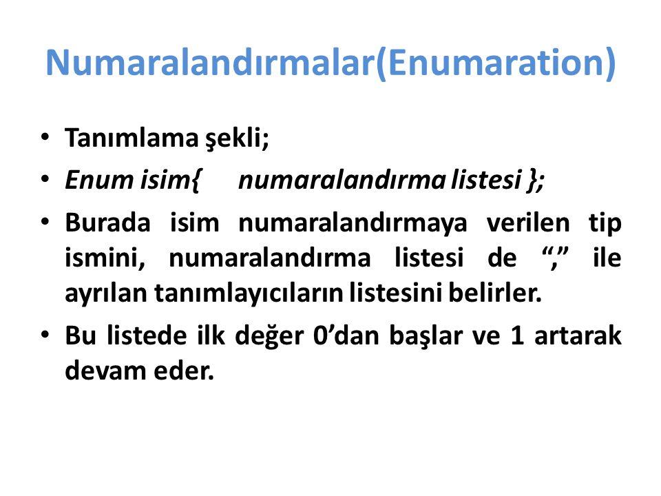 Numaralandırmalar(Enumaration)