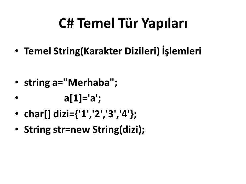 C# Temel Tür Yapıları Temel String(Karakter Dizileri) İşlemleri