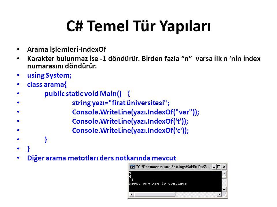 C# Temel Tür Yapıları Arama İşlemleri-IndexOf