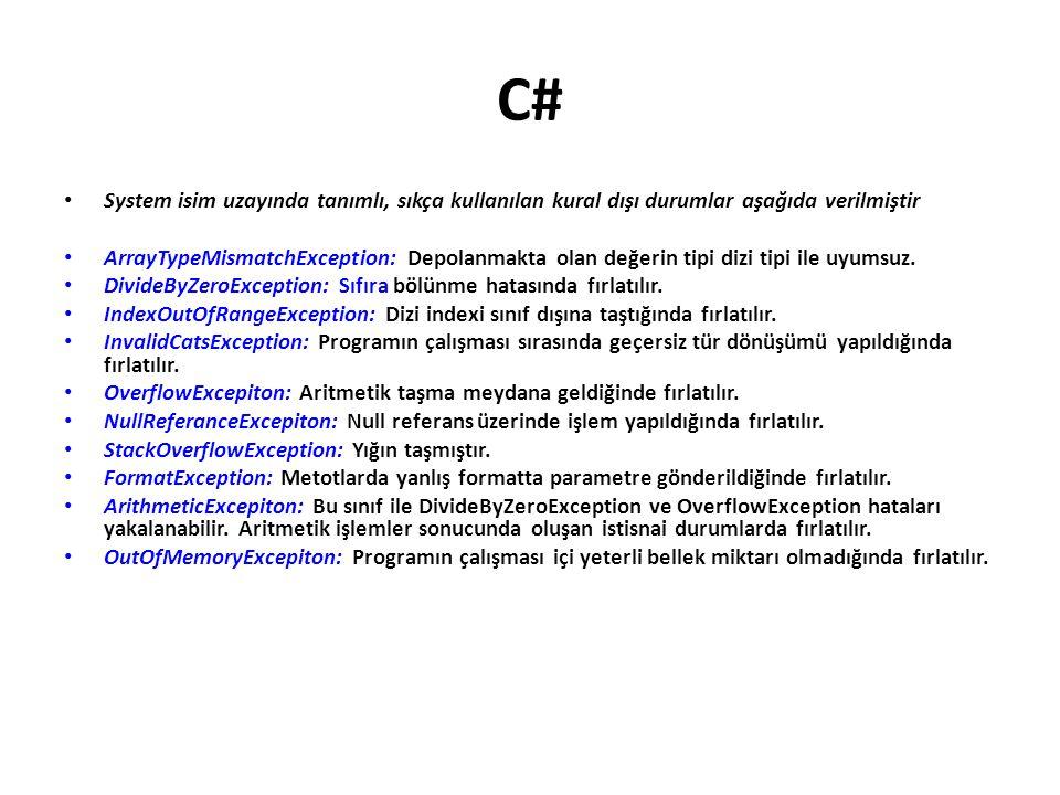 C# System isim uzayında tanımlı, sıkça kullanılan kural dışı durumlar aşağıda verilmiştir.
