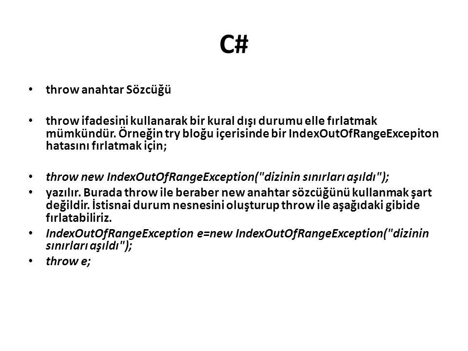 C# throw anahtar Sözcüğü