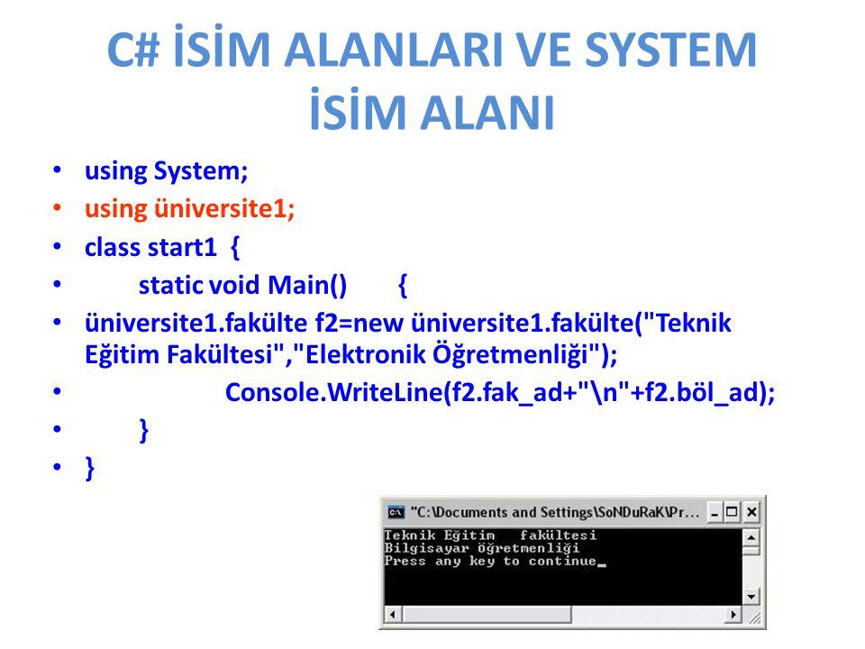 C# İSİM ALANLARI VE SYSTEM İSİM ALANI