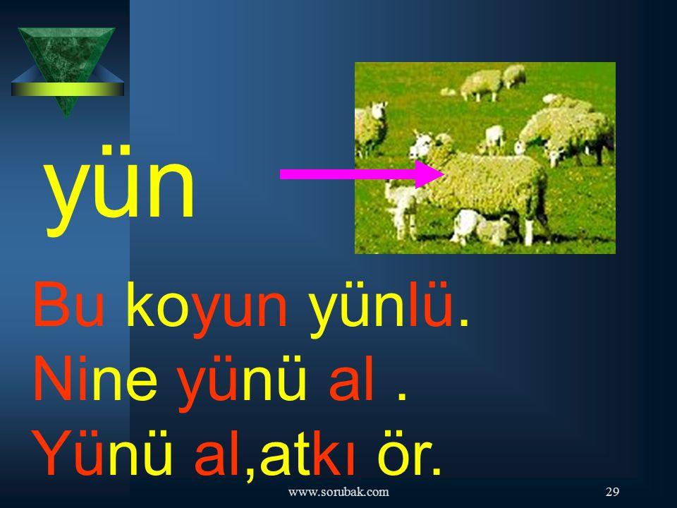 yün Bu koyun yünlü. Nine yünü al . Yünü al,atkı ör. www.sorubak.com
