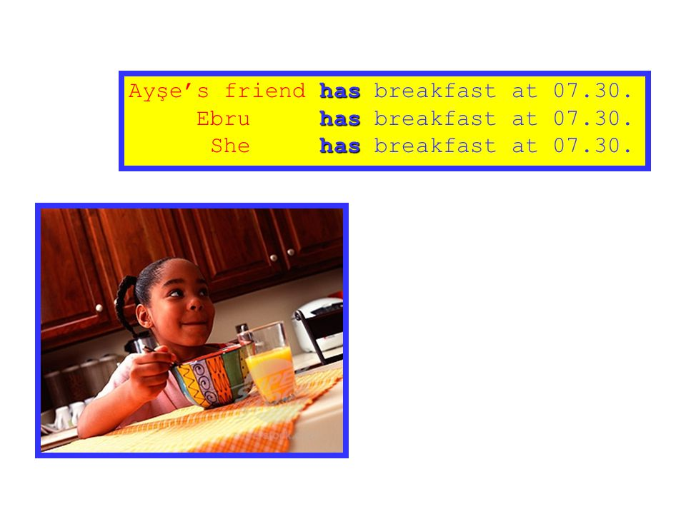 Ayşe's friend has breakfast at