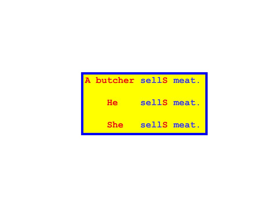A butcher sellS meat. He sellS meat. She sellS meat.