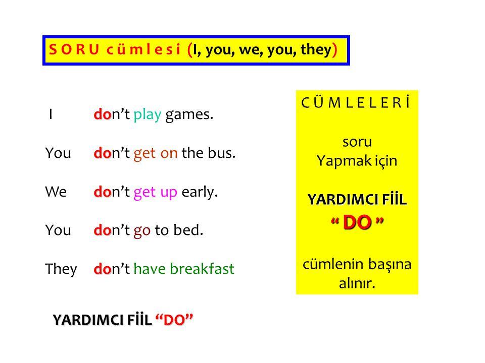 S O R U c ü m l e s i (I, you, we, you, they)