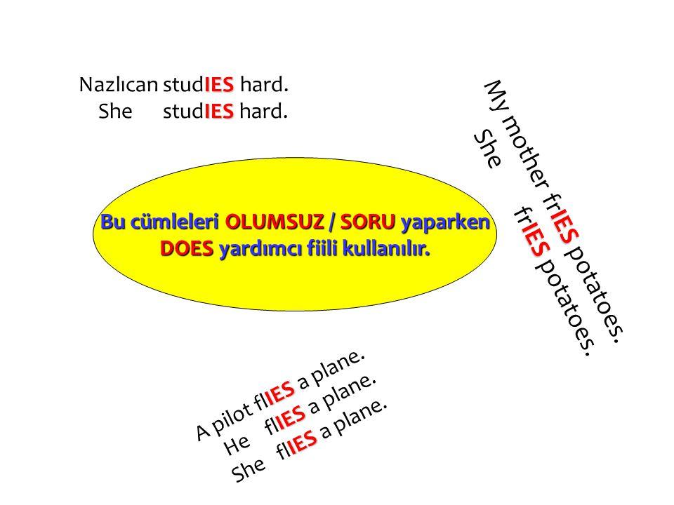 Bu cümleleri OLUMSUZ / SORU yaparken DOES yardımcı fiili kullanılır.