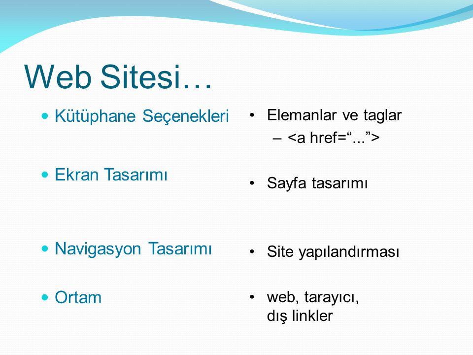 Web Sitesi… Kütüphane Seçenekleri Ekran Tasarımı Navigasyon Tasarımı