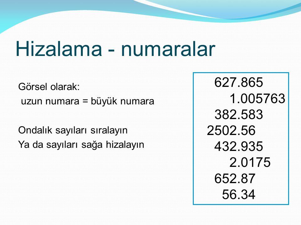 Hizalama - numaralar Görsel olarak: uzun numara = büyük numara. Ondalık sayıları sıralayın. Ya da sayıları sağa hizalayın.