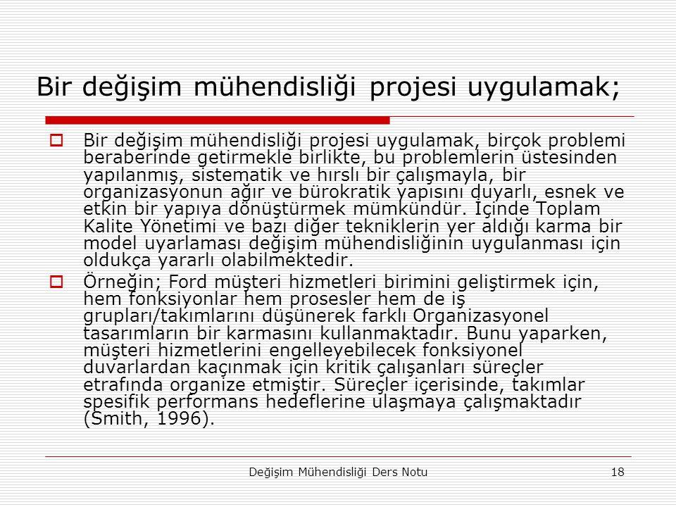 Bir değişim mühendisliği projesi uygulamak;
