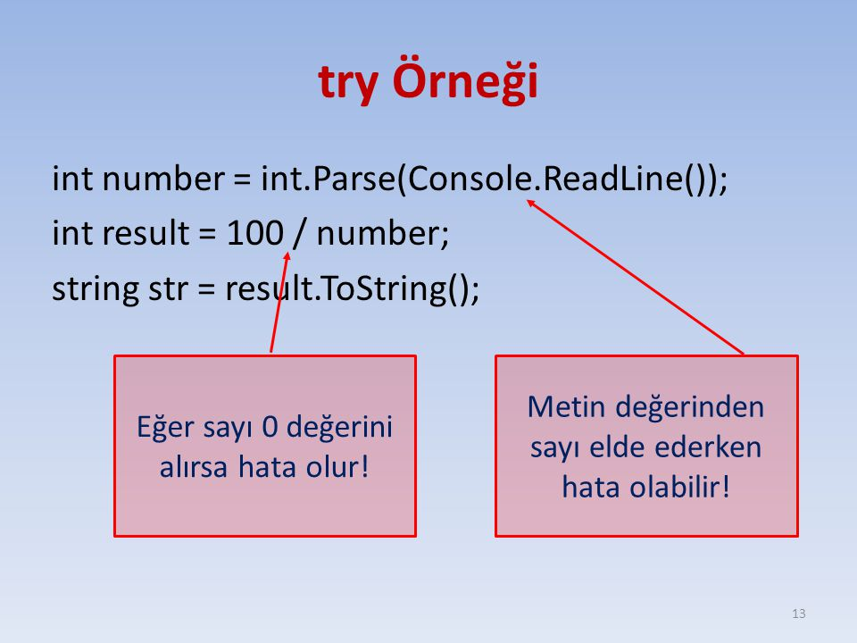 try Örneği int number = int.Parse(Console.ReadLine()); int result = 100 / number; string str = result.ToString();
