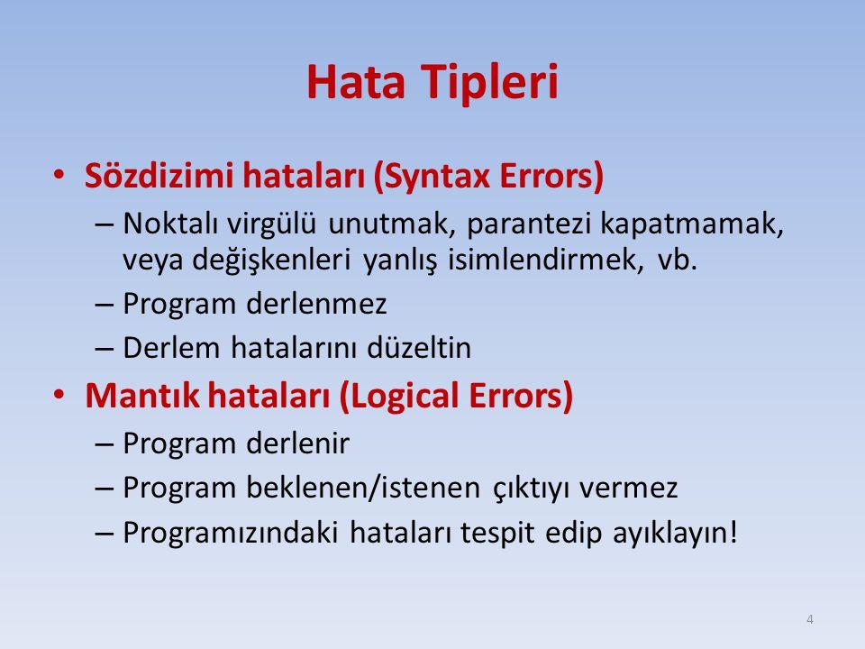 Hata Tipleri Sözdizimi hataları (Syntax Errors)
