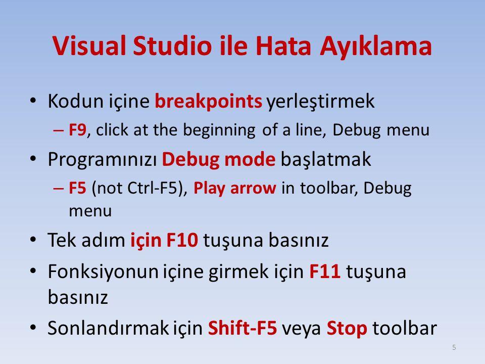 Visual Studio ile Hata Ayıklama