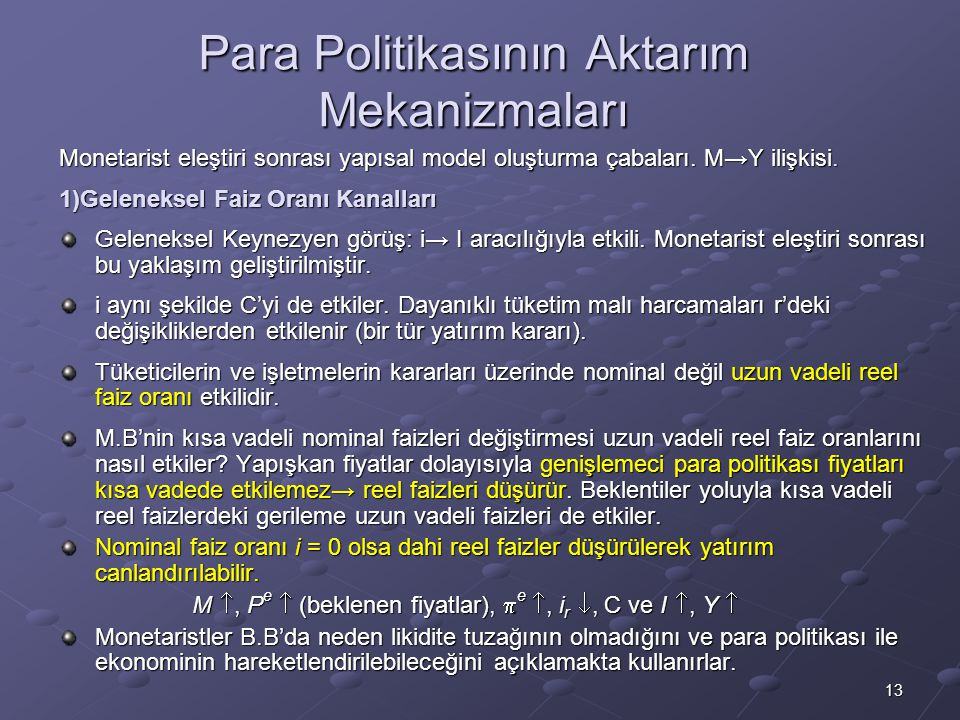 Para Politikasının Aktarım Mekanizmaları