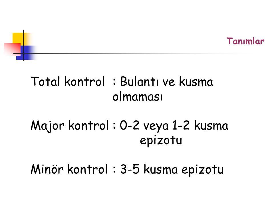 Total kontrol : Bulantı ve kusma olmaması