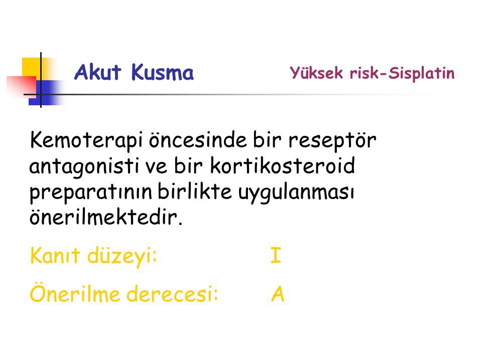 Akut Kusma Yüksek risk-Sisplatin.