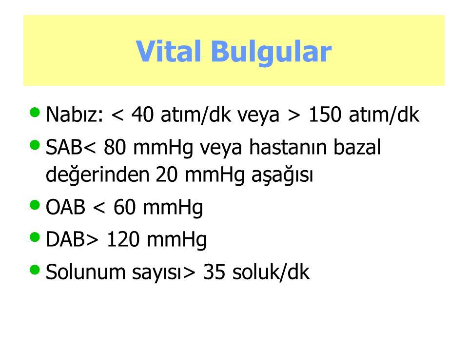 Vital Bulgular Nabız: < 40 atım/dk veya > 150 atım/dk