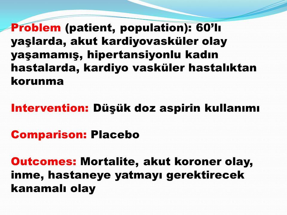 Problem (patient, population): 60'lı yaşlarda, akut kardiyovasküler olay yaşamamış, hipertansiyonlu kadın hastalarda, kardiyo vasküler hastalıktan korunma