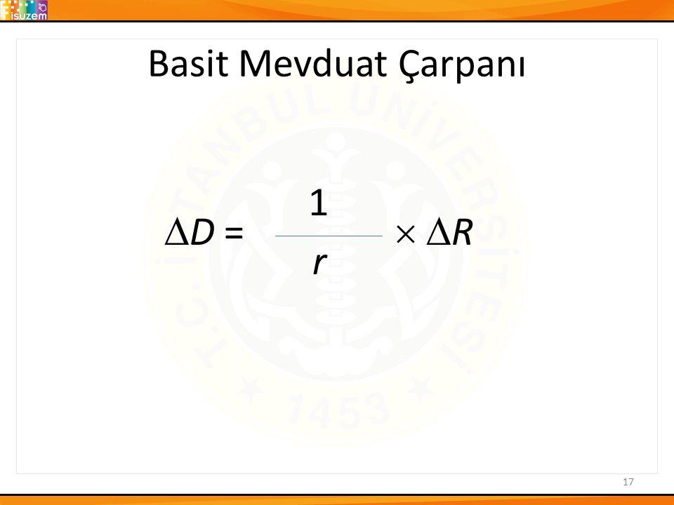 Basit Mevduat Çarpanı 1 D =  R r