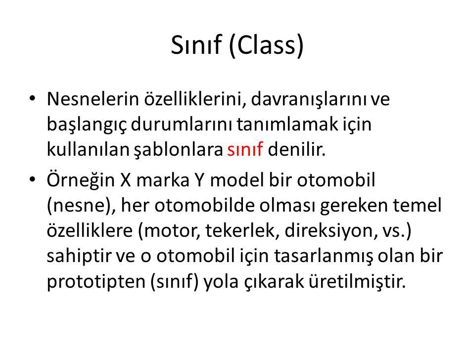 Sınıf (Class) Nesnelerin özelliklerini, davranışlarını ve başlangıç durumlarını tanımlamak için kullanılan şablonlara sınıf denilir.