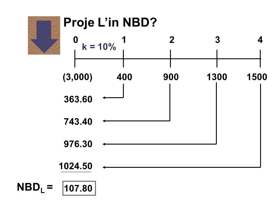 Proje L'in NBD NBDL = 1 2 3 4 k = 10% (3,000) 363.60 743.40 976.30