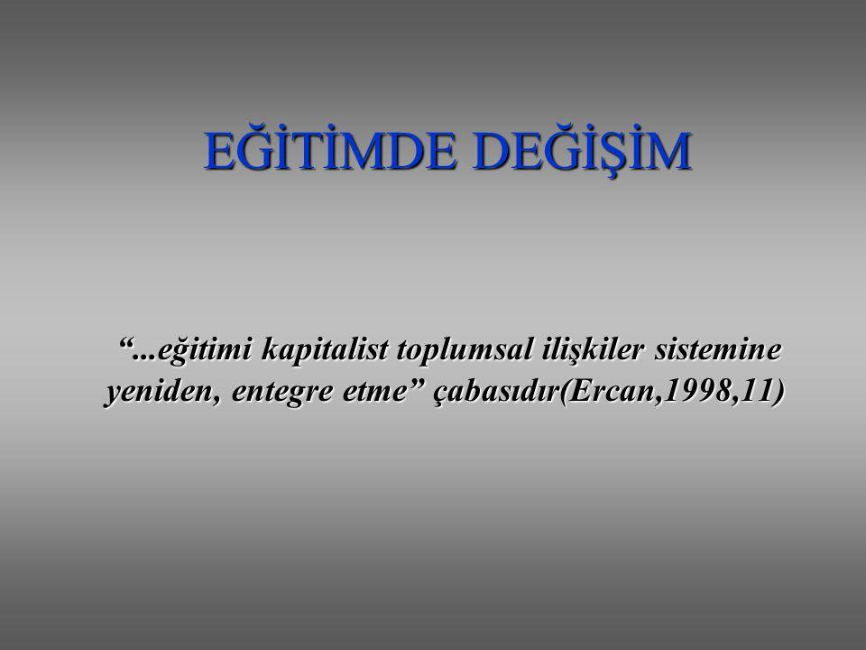 EĞİTİMDE DEĞİŞİM ...eğitimi kapitalist toplumsal ilişkiler sistemine yeniden, entegre etme çabasıdır(Ercan,1998,11)