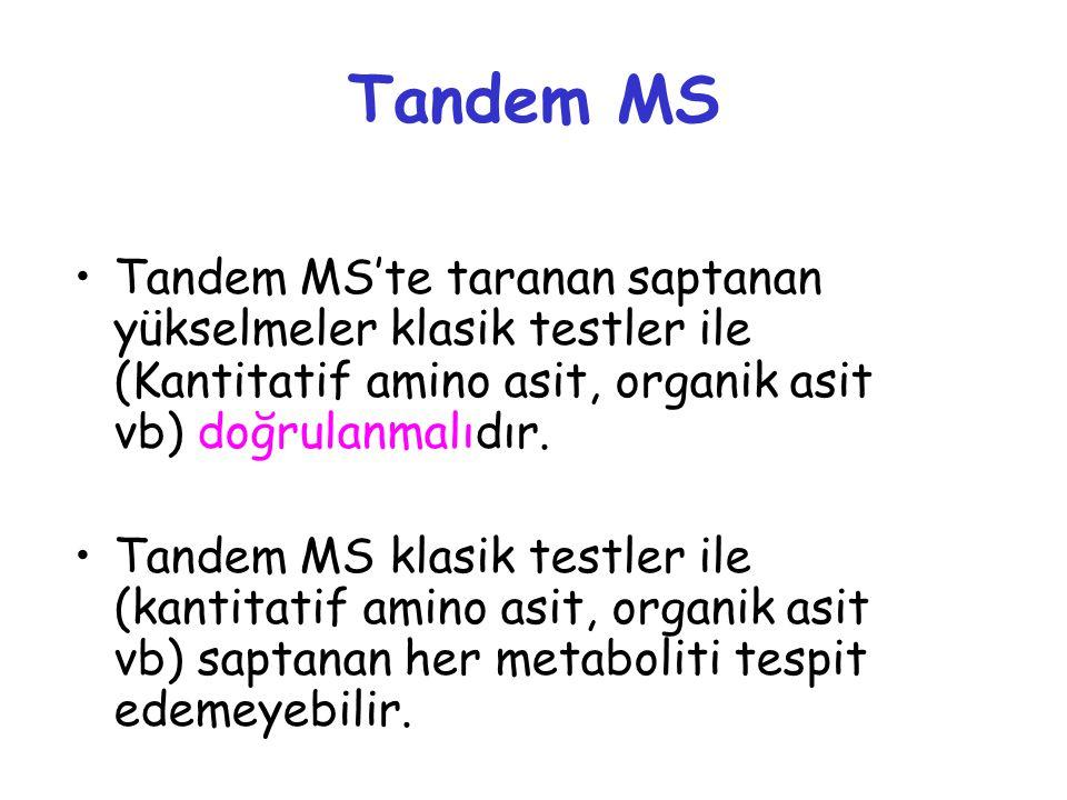 Tandem MS Tandem MS'te taranan saptanan yükselmeler klasik testler ile (Kantitatif amino asit, organik asit vb) doğrulanmalıdır.