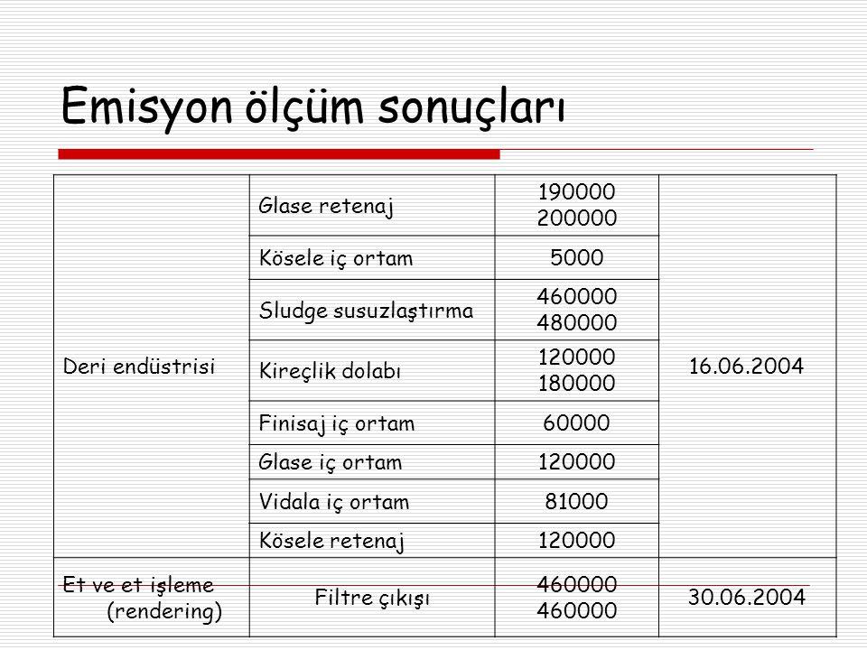 Emisyon ölçüm sonuçları