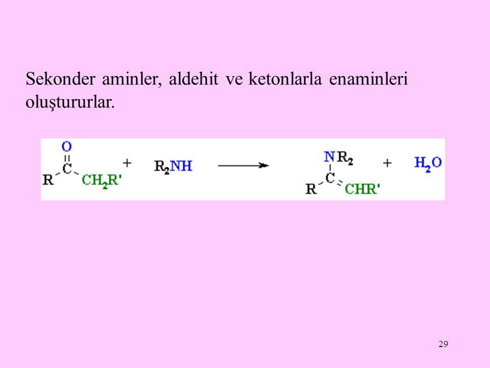 Sekonder aminler, aldehit ve ketonlarla enaminleri oluştururlar.