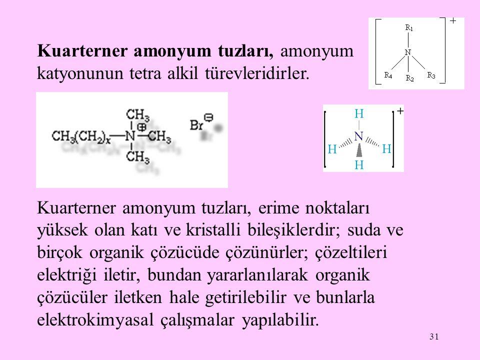 Kuarterner amonyum tuzları, amonyum katyonunun tetra alkil türevleridirler.