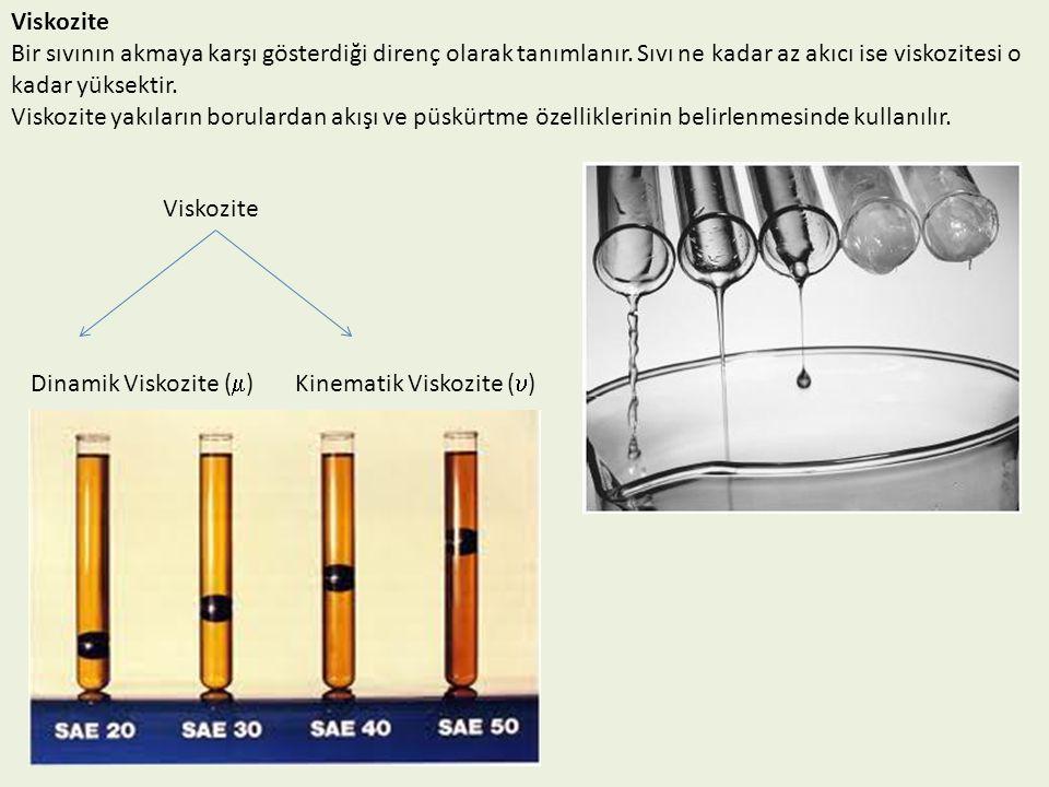 Viskozite Bir sıvının akmaya karşı gösterdiği direnç olarak tanımlanır. Sıvı ne kadar az akıcı ise viskozitesi o kadar yüksektir.