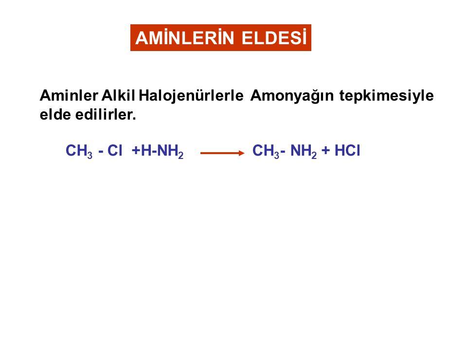 AMİNLERİN ELDESİ Aminler Alkil Halojenürlerle Amonyağın tepkimesiyle elde edilirler.