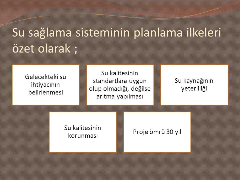 Su sağlama sisteminin planlama ilkeleri özet olarak ;