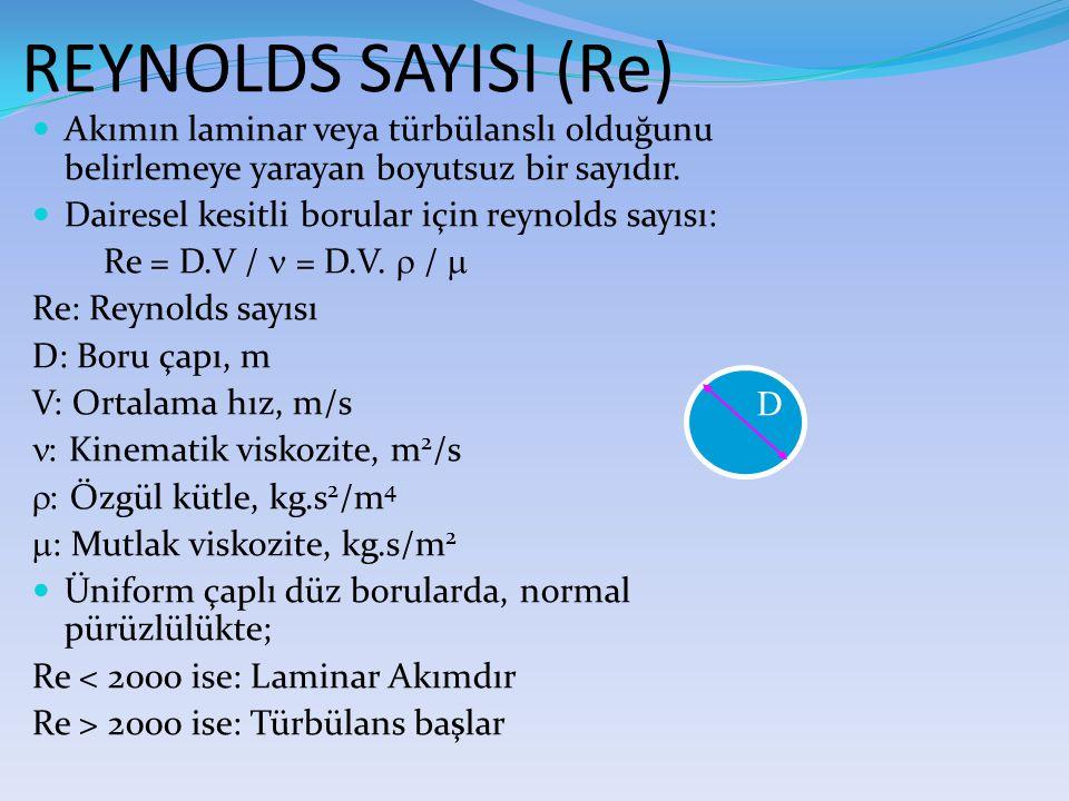 REYNOLDS SAYISI (Re) Akımın laminar veya türbülanslı olduğunu belirlemeye yarayan boyutsuz bir sayıdır.